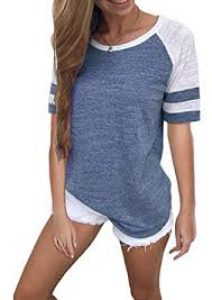 Yidarton Women Color Block Long Short Sleeve T Shirt