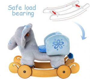 Plush Rocking Elephant Wooden Soft Toy with Wheel