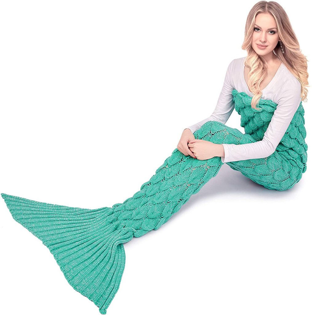 A AM SeaBlue Mermaid Tail Blanket Knit Crochet Mermaid Blanket for Adult