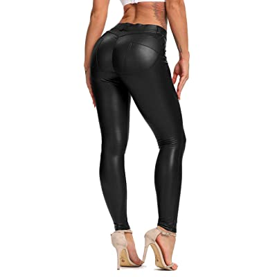 STARBILD Women Skinny High Waist Tummy Control Leather Leggings