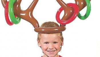 Christmas Reindeer Antler Hat with Rings for Kids