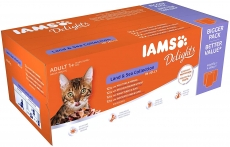 IAMS Delights Wet Food Land for Adult Cats with Meat and Fish in Jelly