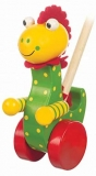 Push Along Wooden Toy Dinosaur Soft Plush Toy