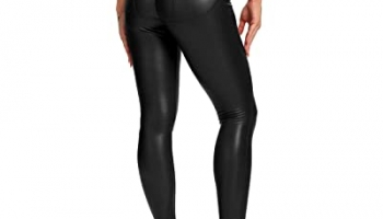 STARBILD Women Skinny Super Elastic High Waist Tummy Control Leather Leggings